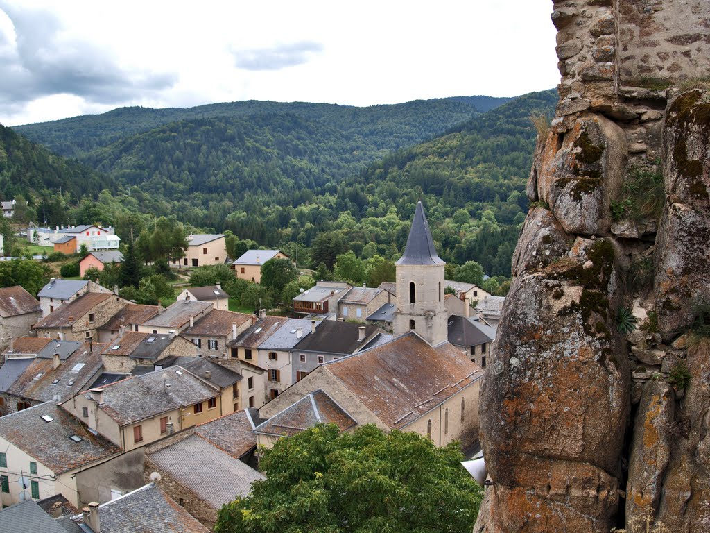 The remote village of Querigut in the Pyrenees from its tiny castle