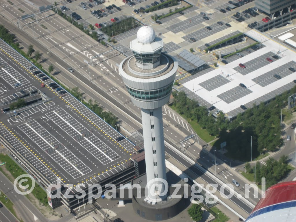 Schiphol Air control tower from the air