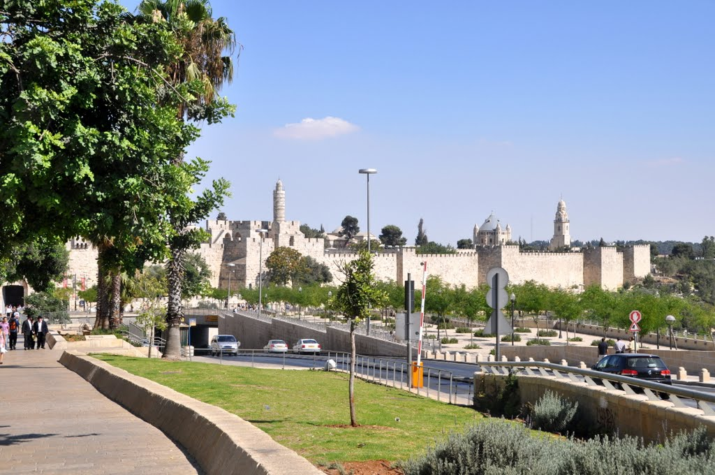 The Walls of the Old City of Jerusalem, on the left the Tower of David on the right Hagia Maria Sion Abbey.