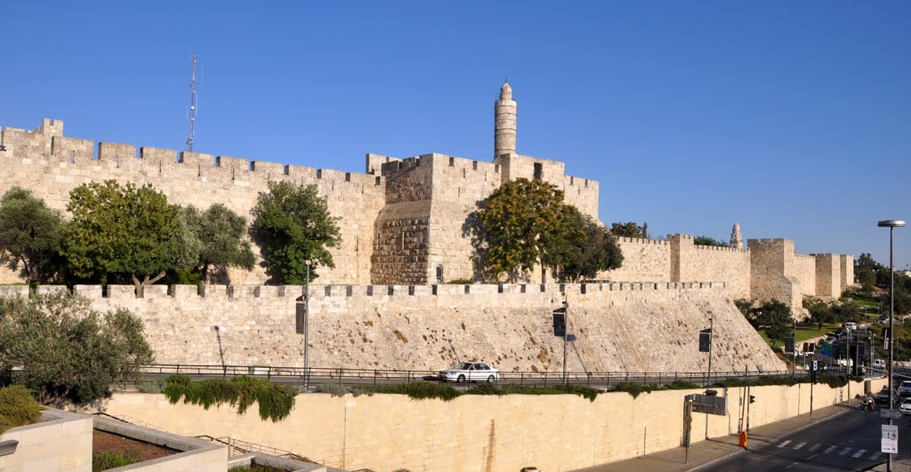 The Tower of David and the City Walls. Jerusalem, Israel.