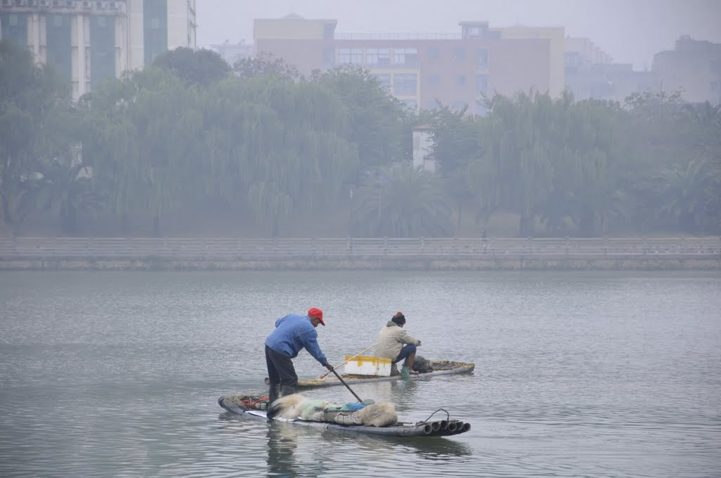 Bamboo craft on Shangqing River, Sanming, Fujian, China