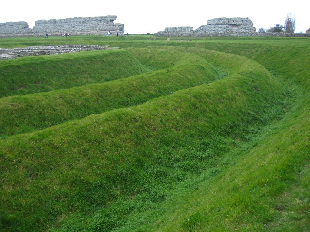 Roman defensive ditches at Richborough Saxon shore Fort