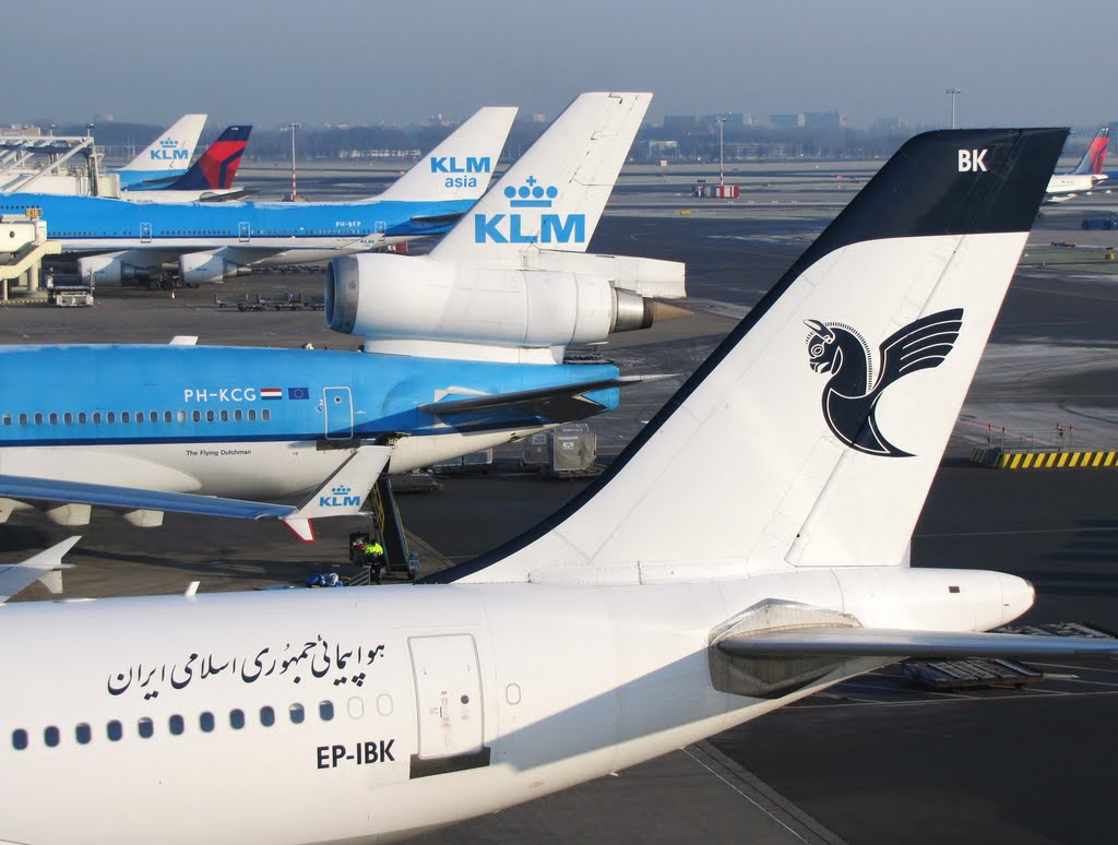 Tails (Iran Air 313; KL M11/74E/744; DL 330/330) - Amsterdam-Schiphol (AMS), The Netherlands.