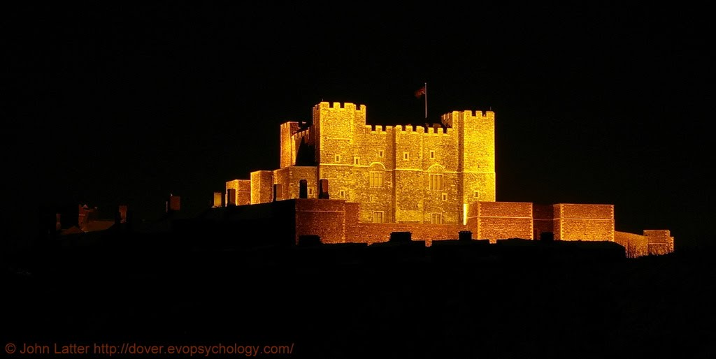 Norman Keep or Great Tower of  Henry II at Night, Dover Castle, Kent, UK