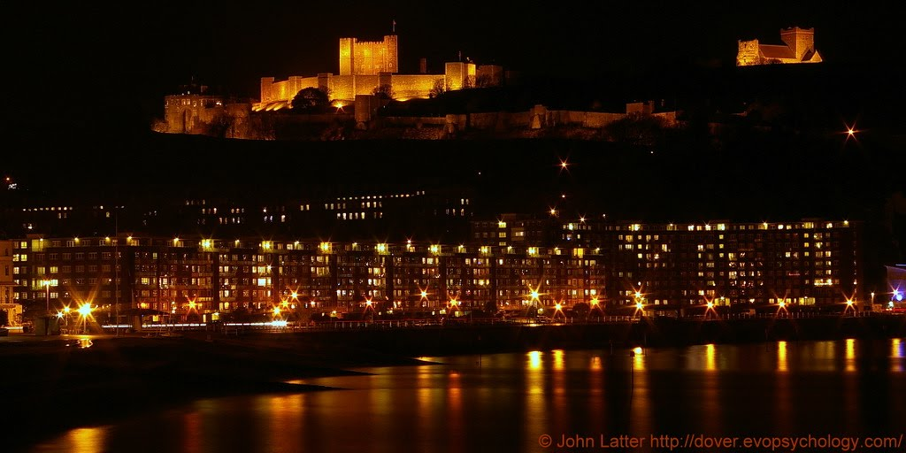 Night Panorama of Dover Castle above Beach, Seafront, and Harbour, Kent, UK