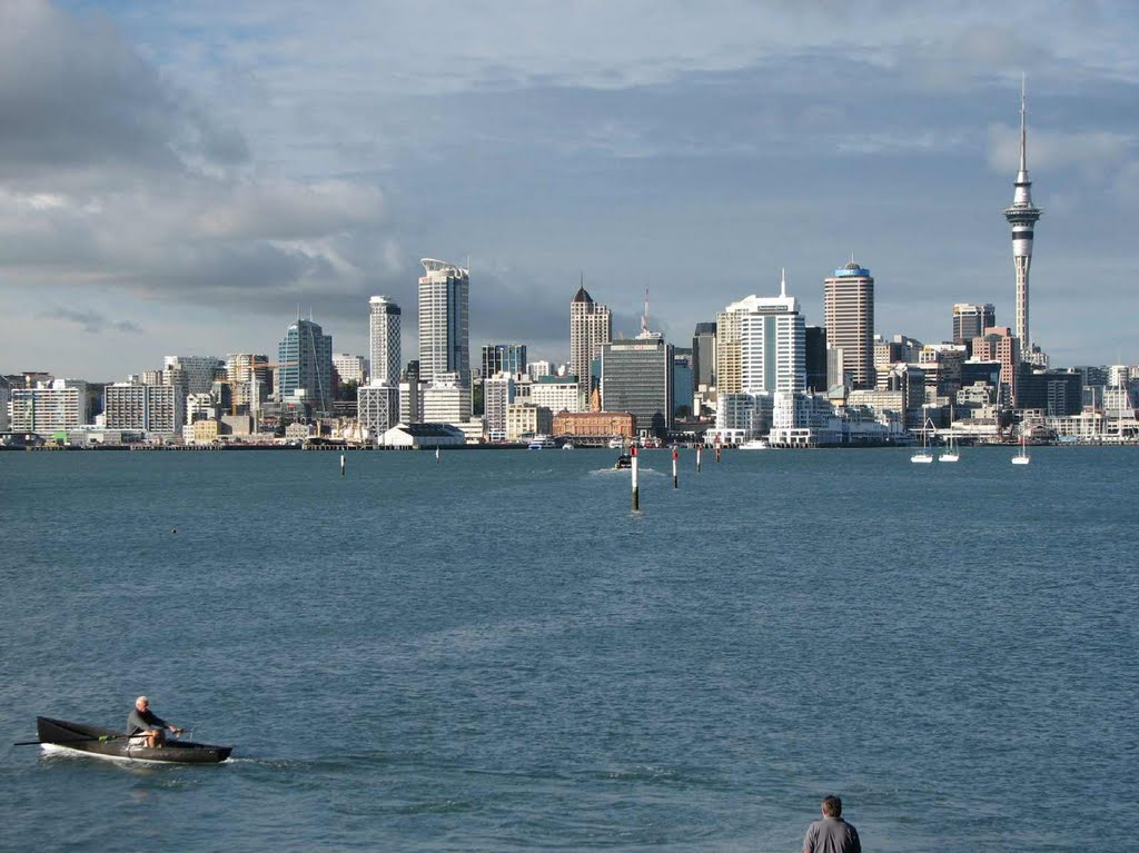 The excellent view of Auckland from the ferry landing