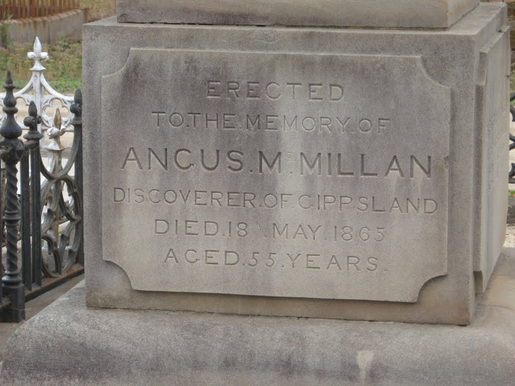 Grave of Gippsland discover, Angus McMillan, at sale cemetery