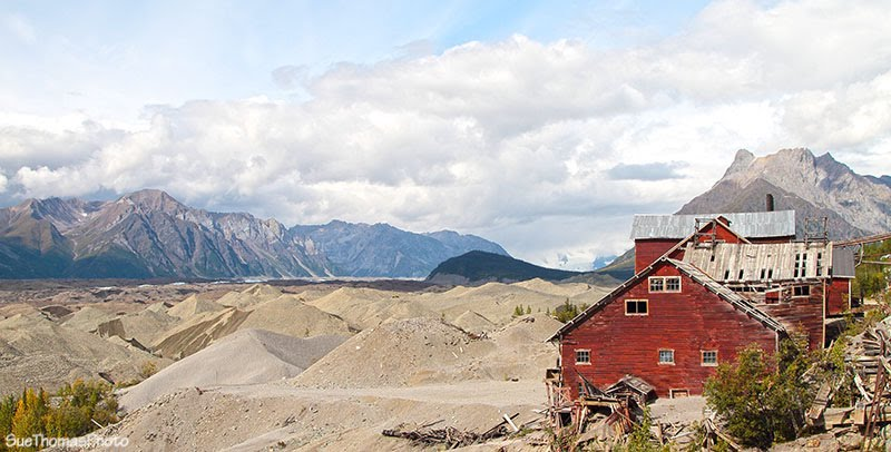 Kennecott Mine Historic Landmark and mine tailings in Alaska