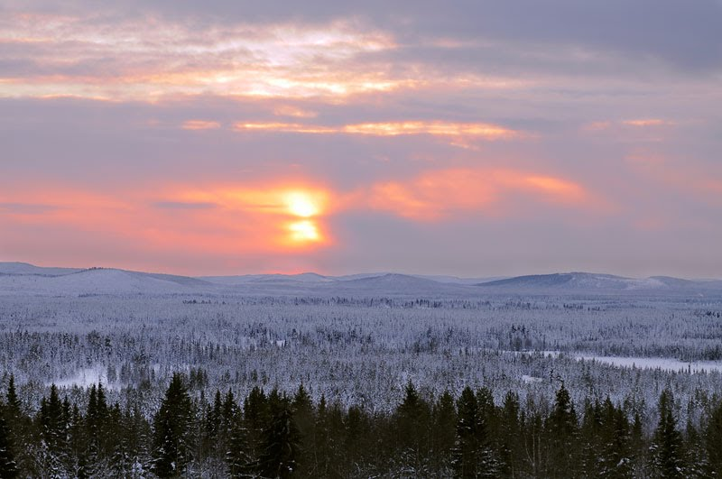 Sunset over the wilderness in Arvidsjaur, view from Sarvasåive mountain.