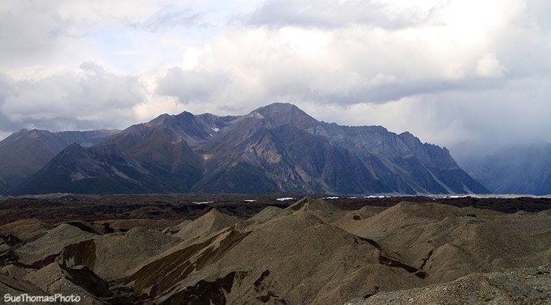 Kennecott Mines Tailings and Kennicott Glacier in the distance