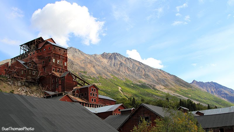 Looking up at the Kennecott Mines processing plant