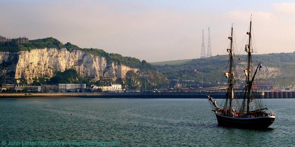Morgenster Two-masted Brig and White Cliffs of Dover Castle, Kent, UK