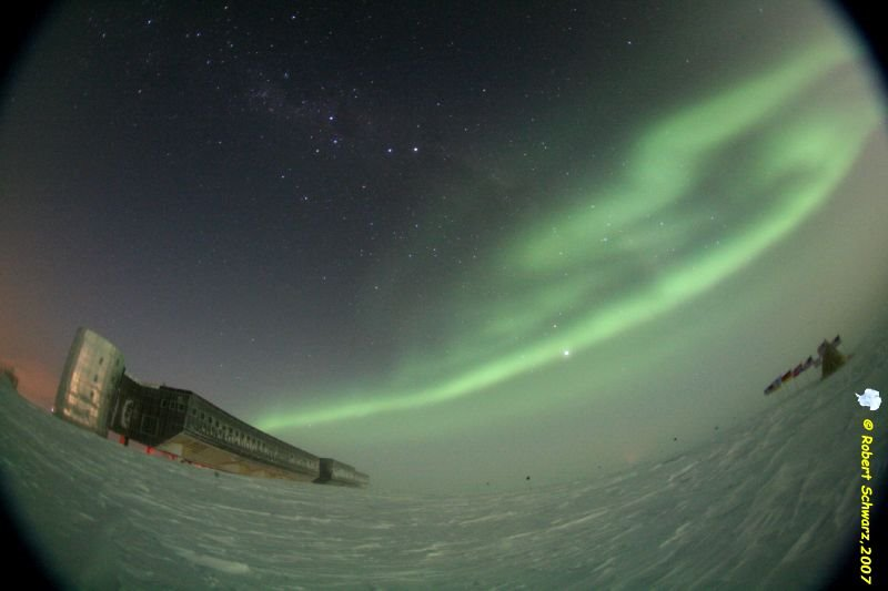 Auroras at the geographic South Pole