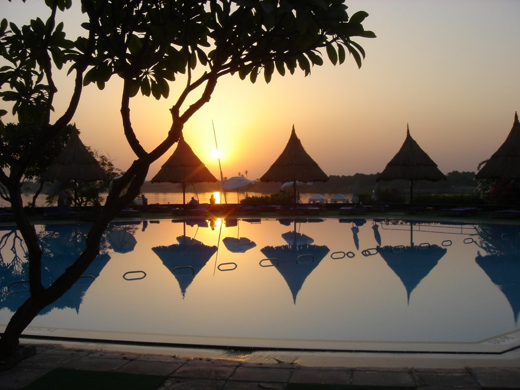 Sunset by the adult pool at Mövenpick Jolie Ville hotel