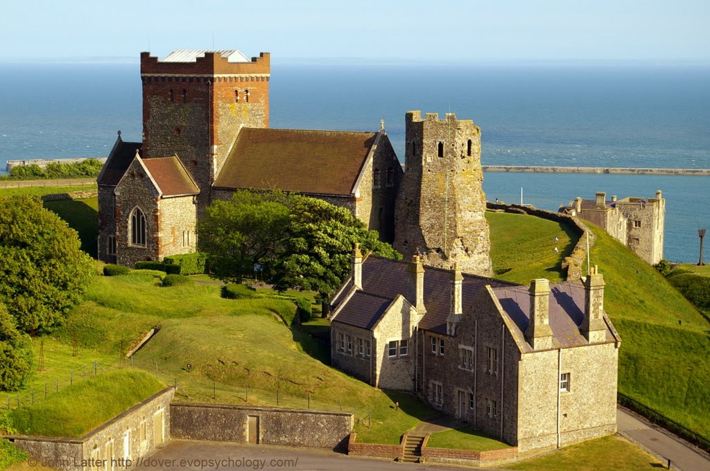 Roman Pharos and Saxon Church from the Norman Keep of Dover Castle, Kent, UK