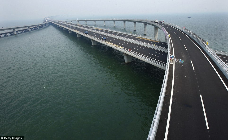 The Qingdao Jiaozhou bay bridge, spanning 26.4 miles between Qingdao and Huangdao