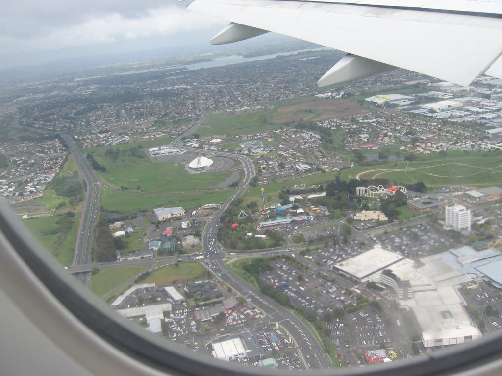 Flying over Auckland...