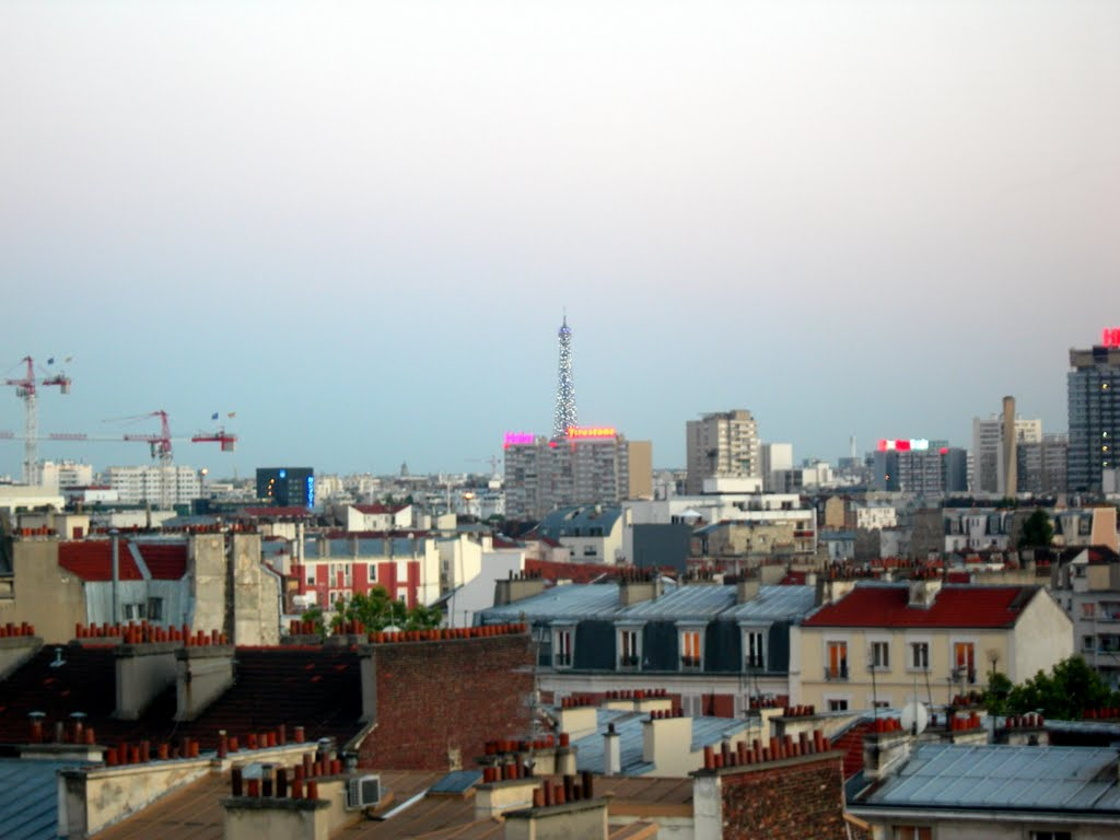 View towards the Eiffel Tower from Youth Hostel Léo Lagrange in Clichy