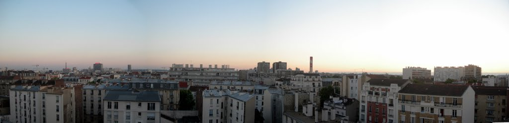 Panorama of Paris with Eiffel Tower, Hotel Concorde LaFayette from Hostel Leo Lagrange in Clichy