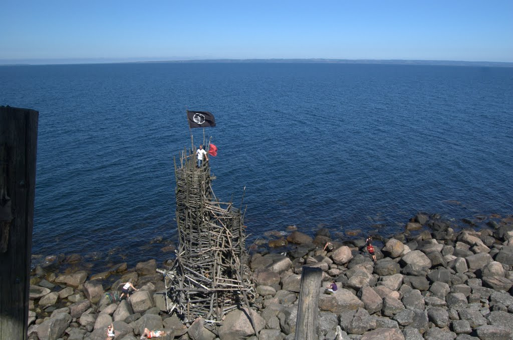 Overlooking a smaller tower from the tallest in Ladonia