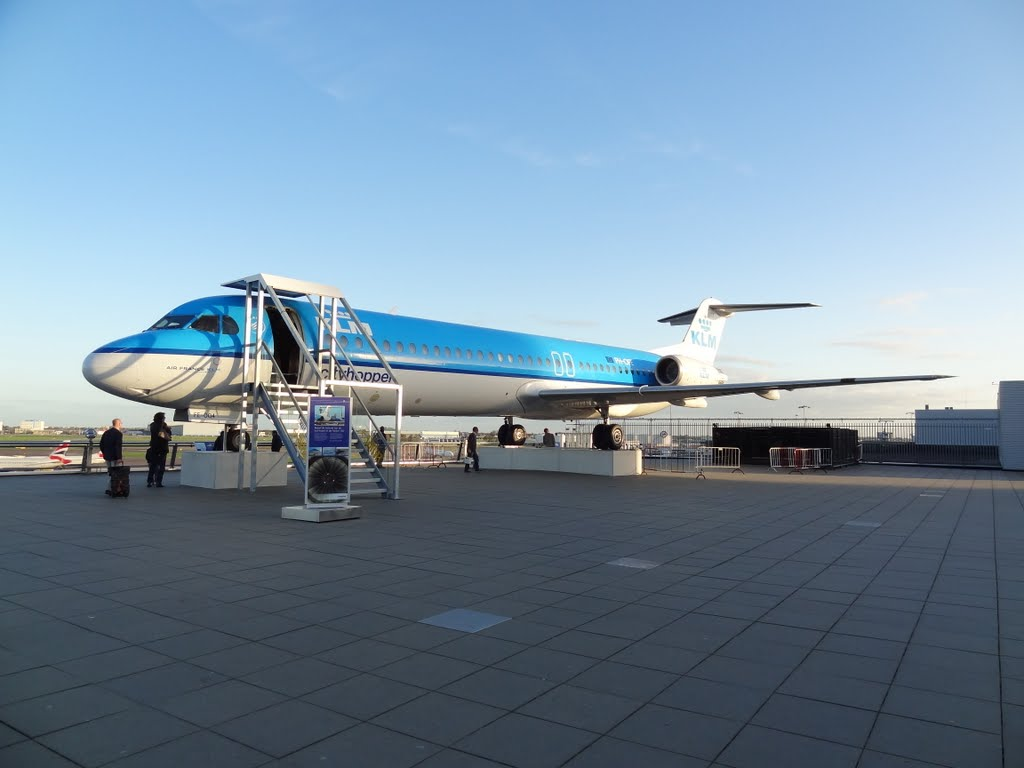 A KLM Cityhopper on display at the Panoramadeck of Schiphol Airport