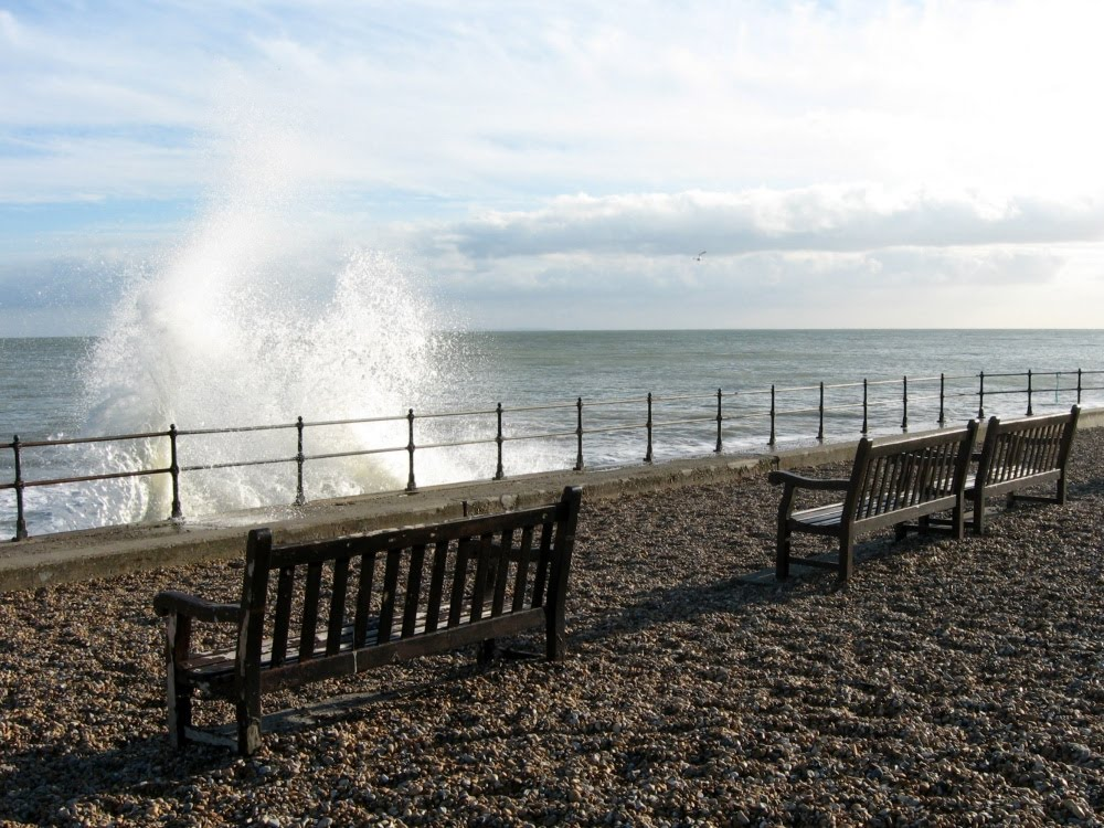 Bench on the beach, Kingsdown