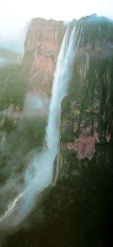 """Salto del Angel / Angel Falls with a vertical drop of 979 metres world's highest water fall on edge of Auyan Tepui (Devil's Mountain) in the Guyana Plateau. In the Pemon language of the indigenous people the original name of the waterfall is """"Churun Merú"""" or """"Kerepakupai Vená"""", which means """"waterfall of the deepest place""""."""