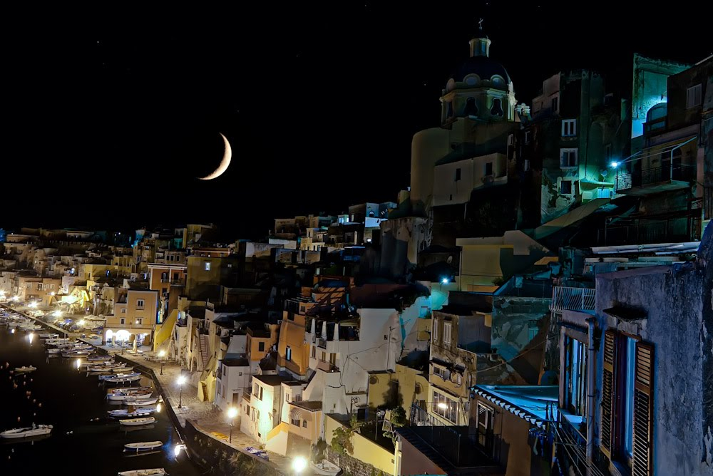 Corricella by night with the moon