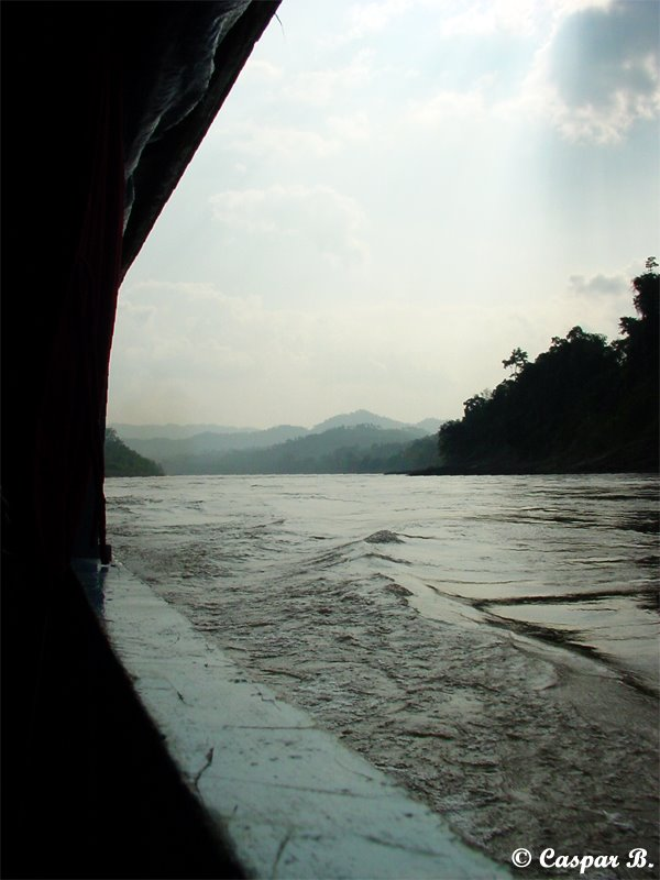 Travelling upriver on the Mekong (Laos, 2003)