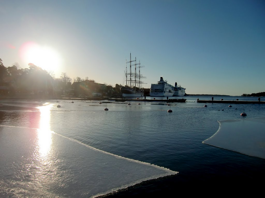 The harbour of Mariehamn, Åland in winter time