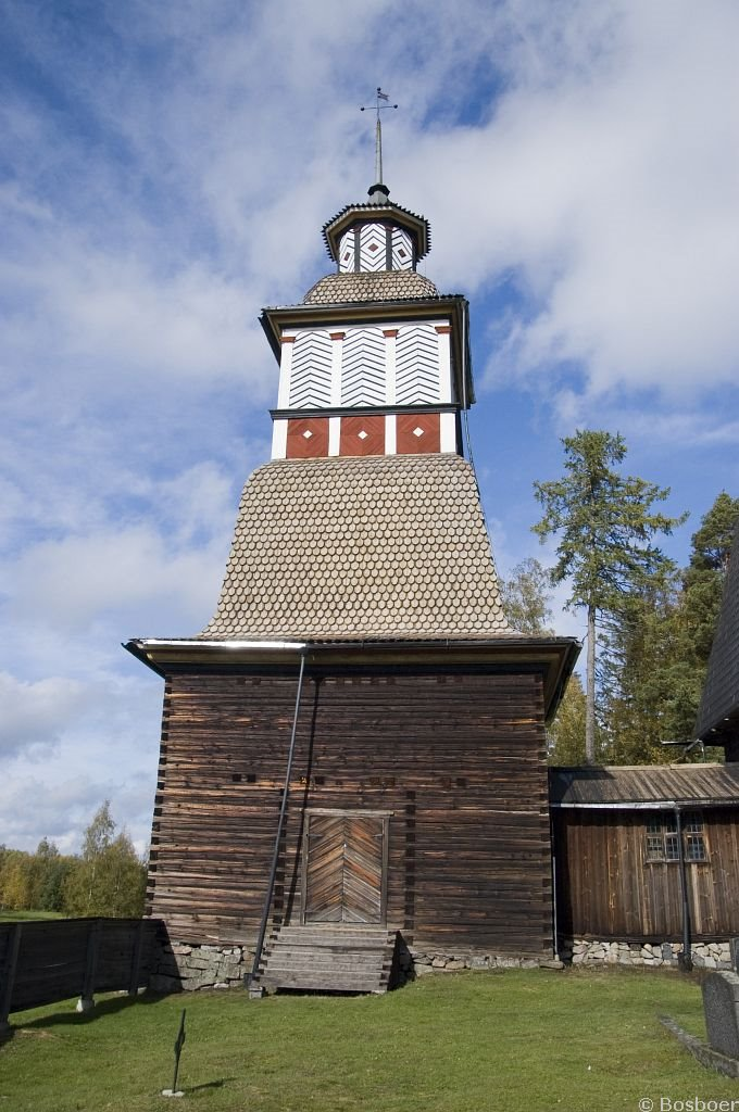 Bell tower of the old wooden church in Petajavesi