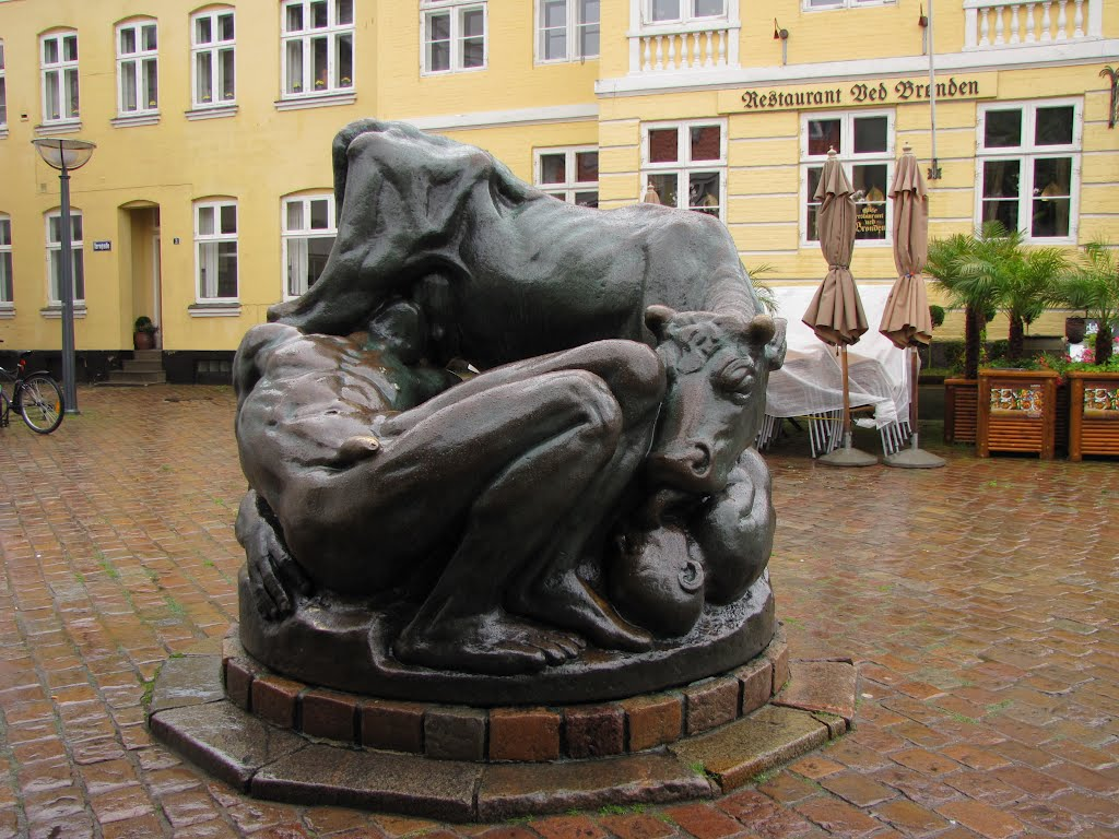 'The Ymer Well' - Faaborg, Fyn, Denmark (Note: The sculpture of Ymer represents the old Norse viking religion of Scandinavia. Made in 1912-13 by the danish sculpturer Kai Nielsen (1882-1924))