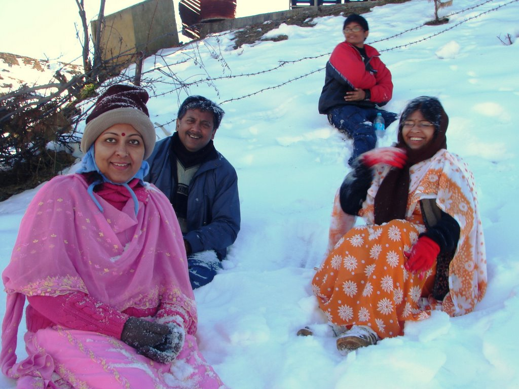 Inside the snow covered GMVN Compound-Auli