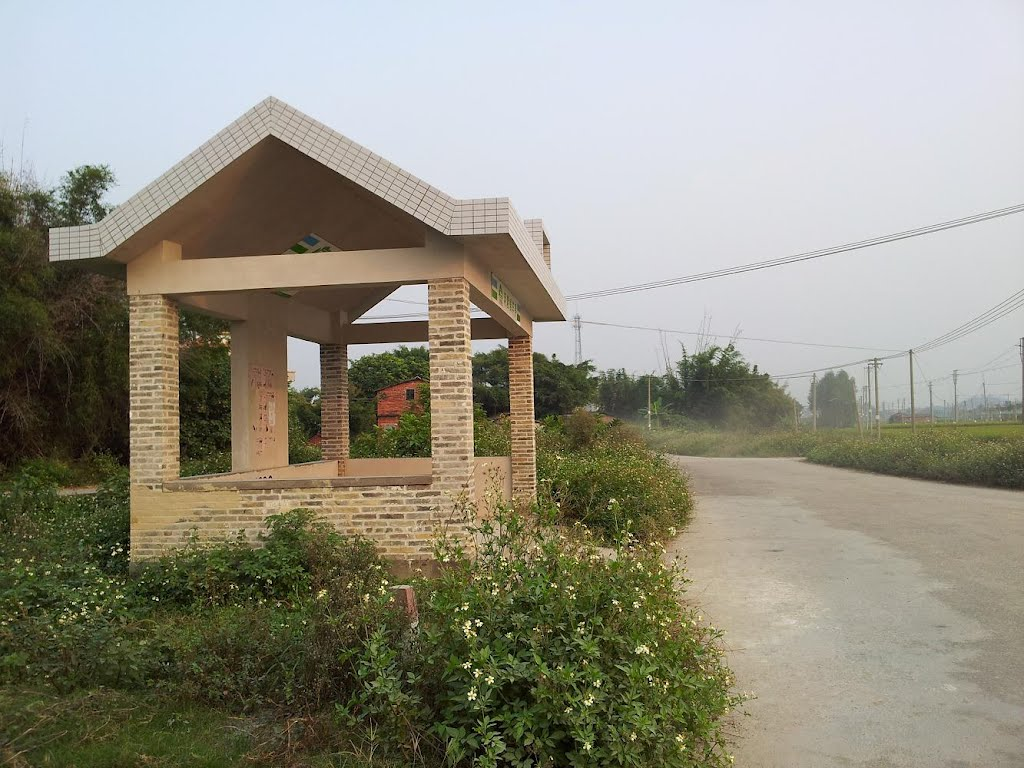 Bus stop at village