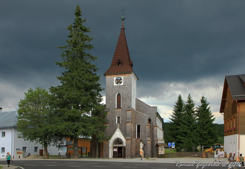 National Parks in the Czech Republic. Šumava. Stephen's Church in the village Kvilda before the storm....little picture devoted to my a friend.