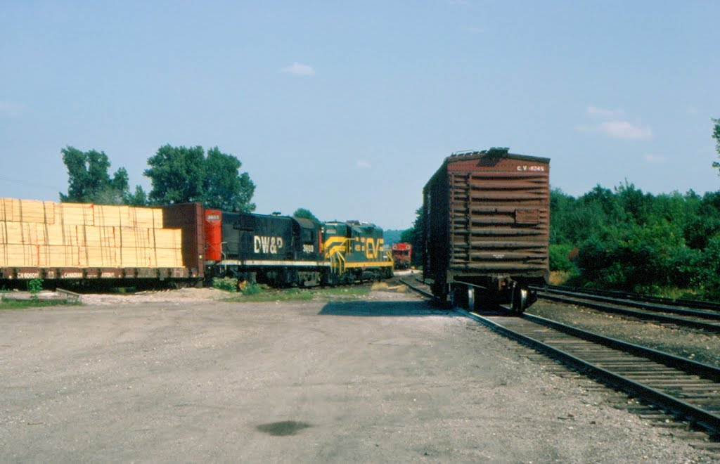 Central Vermont Railway Freight Train No. 510, with CV EMD GP9 No. 4550 and DWP Alco RS11 No. 3603 providing power, sets out cars at Essex Junction, VT