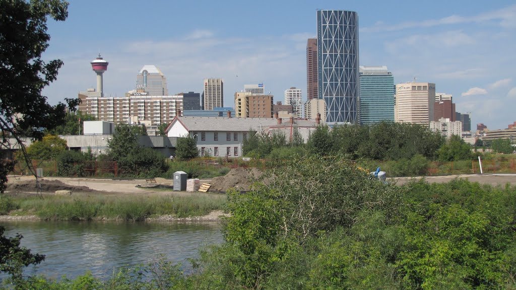 Downtown Calgary looking across the old Fort Calgary site, Alberta, Canada