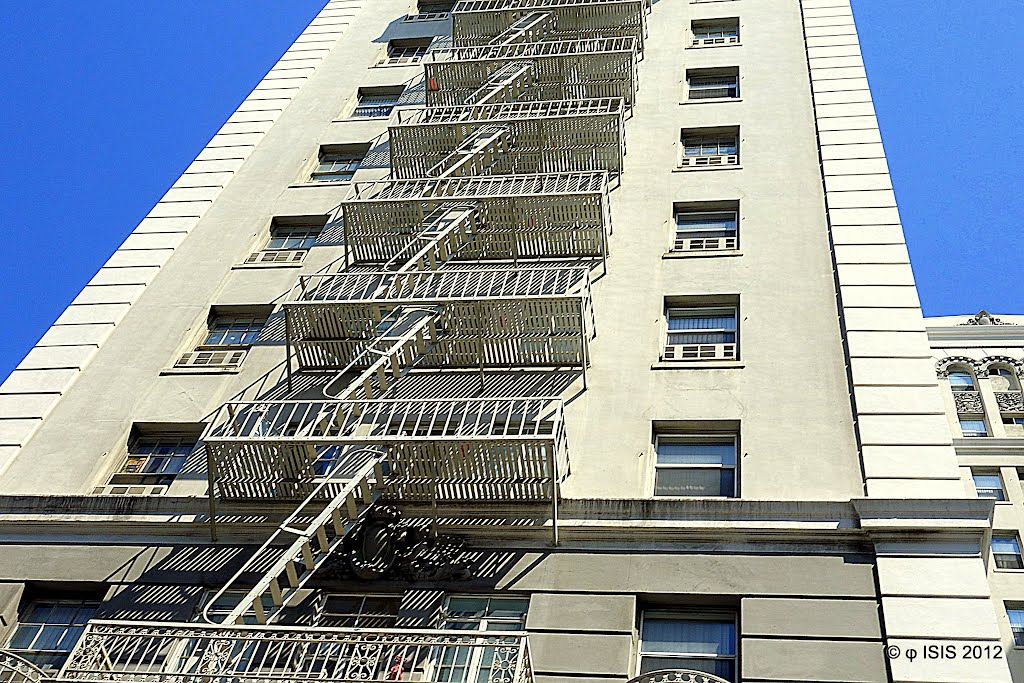 Looks up at Bryson Fire Escape