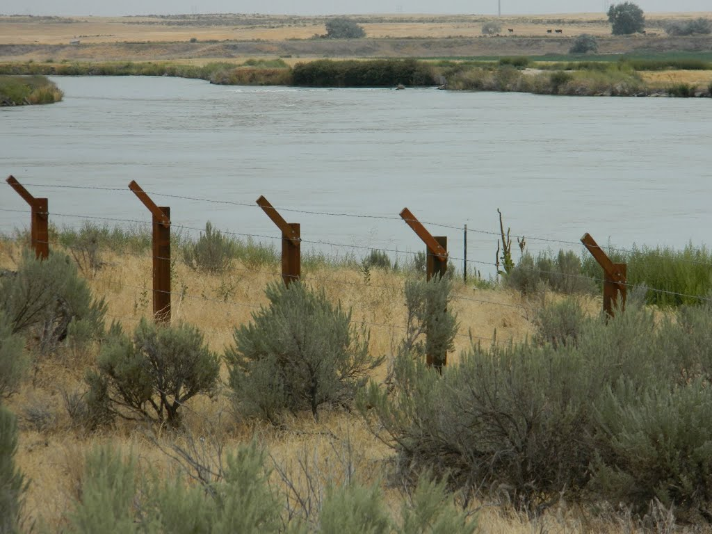 Replica of the barbed wire fence used to keep in Japanese-Americans when the camp existed.