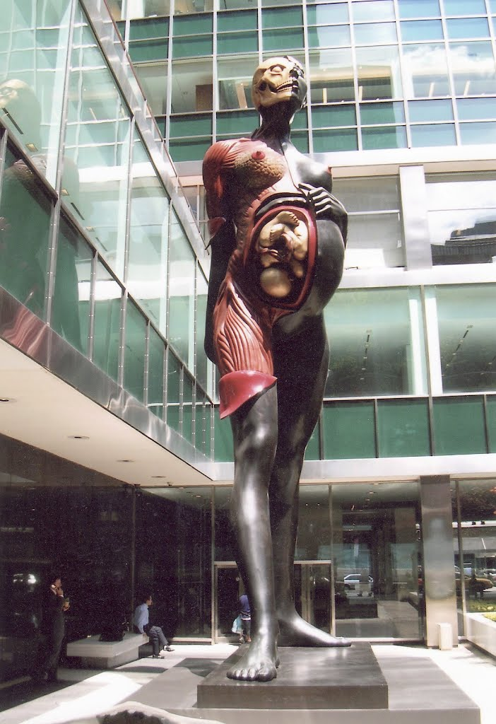 """Damien Hirst """"Virgin Mother"""" Statue of Pregnant Lady at Lever House, New York City"""