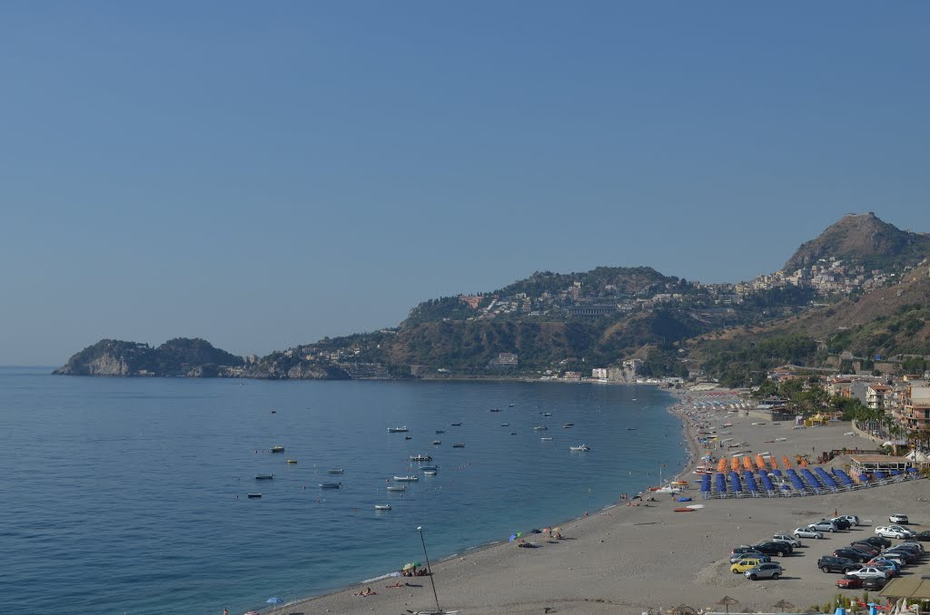 Letojanni Beach and Taormina on the Hills