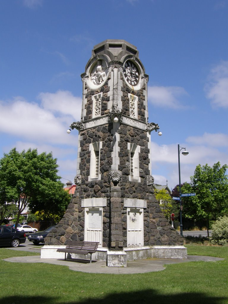 Clock Tower & Telphone Cabinet, Poplar Crescent, Christchurch, NZ