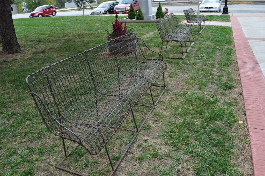 wire benches, Caldwell County courthouse, Kingston, MO
