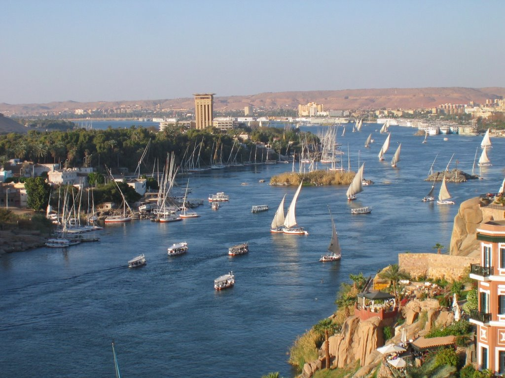 Nile River In Aswan Egypt View From New Cataract Hotel Mapionet
