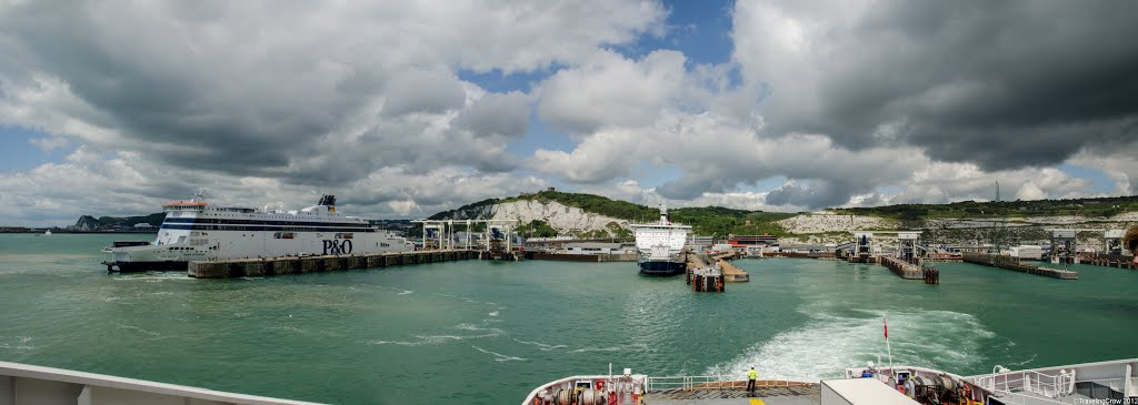 Dover Castle & The White Cliffs of Dover from the Ferry Terminal, Eastern Docks, Port of Dover, Kent