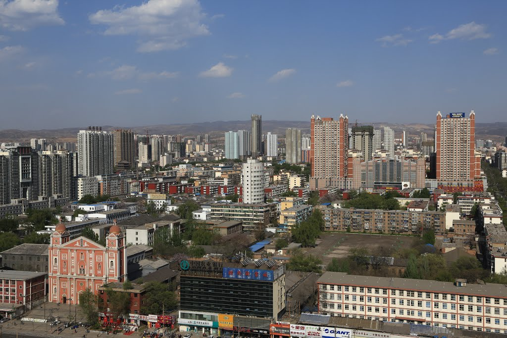 A view of Taiyuan from my room WandaVista, note the church at lower left