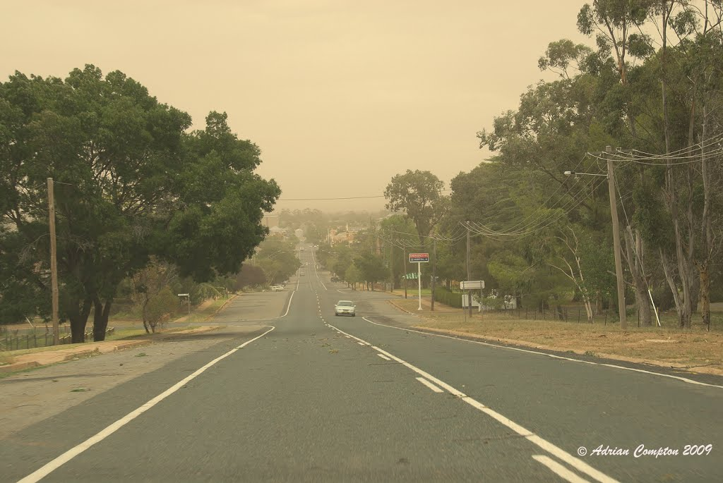 a dust storm races through Temora on a very hot January 2009 day.