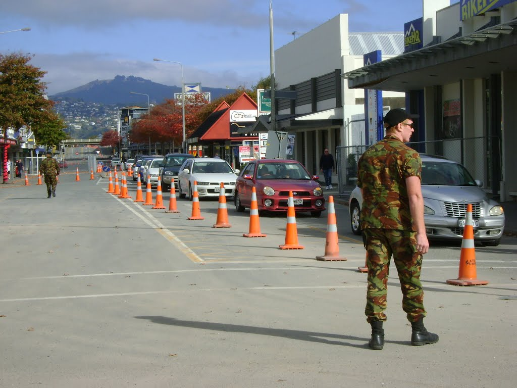 NZ Army patrolling Colombo St after the Feb 22nd Earthquake