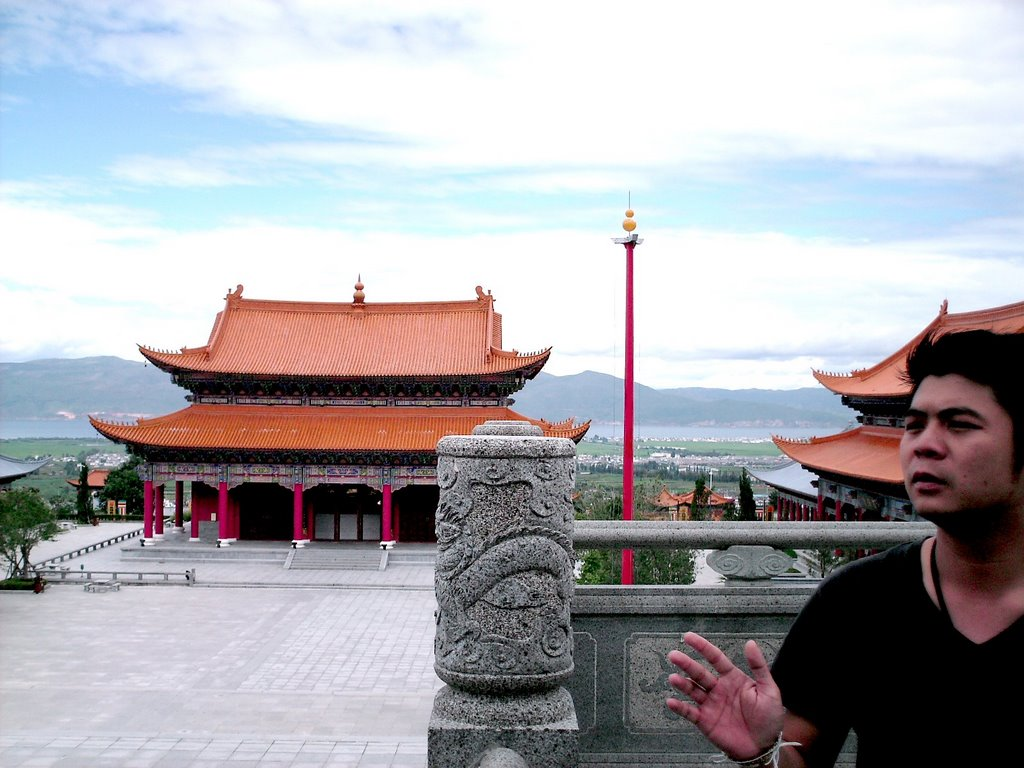 Temple in Dali, China (with our tour-guide)