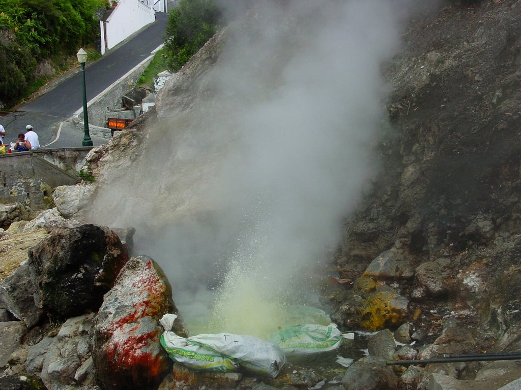 Cooking corn at volcanic spring. Furnas, S. Miguel island, Azores, Portugal